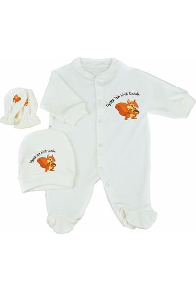 İsatolye Teyzesinin Minik Sincabı Baskılı 3lü Bebek Tulum Seti Bebek Takımı