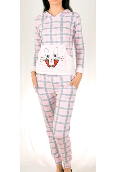 Nicoletta Kadın Pijama Takımı Uzun Kollu Cepli Kapüşonlu Pamuk Tavşan
