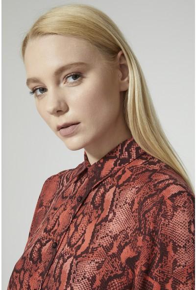 Stella Pulvis Kırmızı Yılan Desen Elbise
