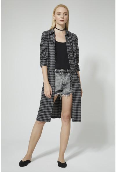 Stella Pulvis Siyah Ekose Elbise