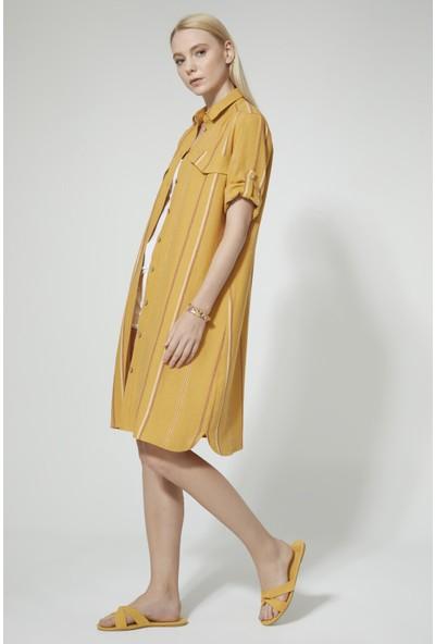 Stella Pulvis Sarı Çizgili Elbise