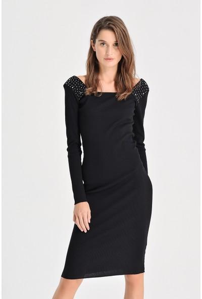 Xint Kadın Yakası Işlemeli Uzun Dar Elbise