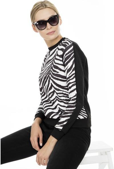 Fashion Friends Zebra Desenli Sweat Kadın Sweat 9K0947