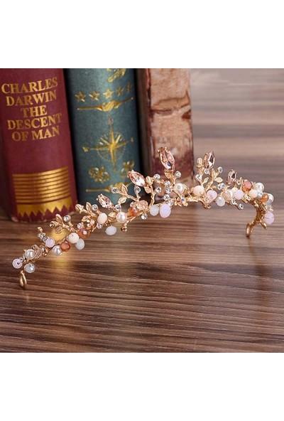 Hidden Botanics Barok Taşlı Gelin Tacı Kına Tacı Açık