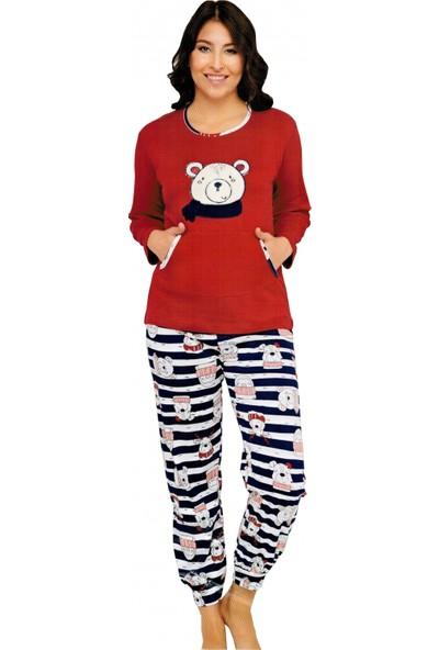 Baray Pamuk İnterlok Kalın Kumaş Kadın Pijama Takımı Ev Pijaması B3008