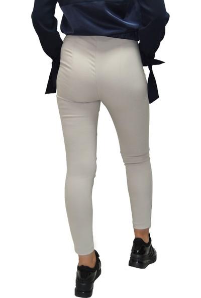 Arzu Gürbüz Kadın Bej Slim Yüksek Bel Levi Pantolon