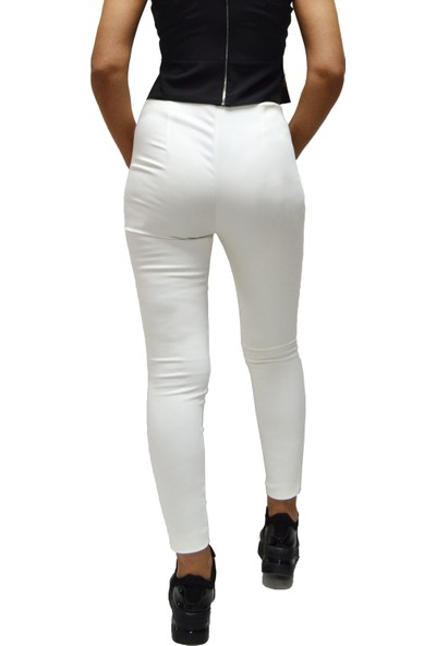 Arzu Gürbüz Kadın Ekru Slim Yüksek Bel Levi Pantolon