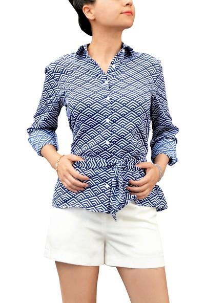 Arzu Gürbüz Kadın Mavi Baskılı Alexia Gömlek