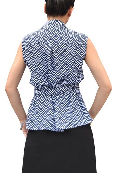 Arzu Gürbüz Kadın Mavi Baskılı Alexie Kolsuz Gömlek
