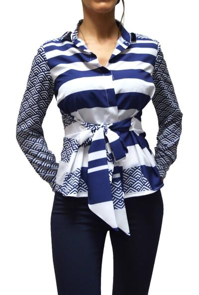Arzu Gürbüz Kadın Mavi Baskılı Gömlek