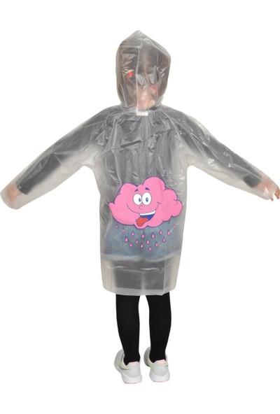 Kız Çocuk Yağmurluk Pembe Bulutlu Desenli 1. Kalite