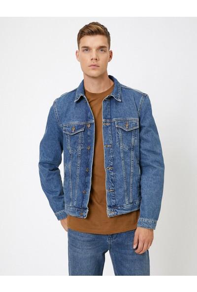 Koton Erkek Cep Detaylı Jean Ceket