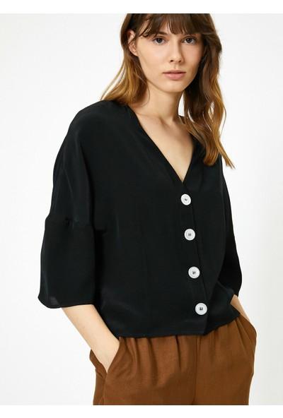 Koton Kadın V Yaka Gömlek