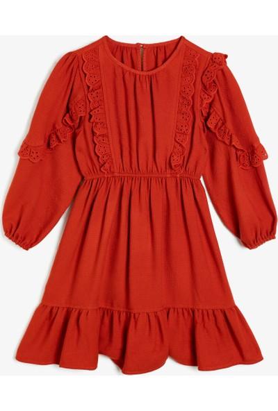 Koton Kız Çocuk Firfir Detaylı Elbise