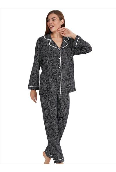 Ayyıldız Kadın 3939 Uzun Kollu Pijama Takımı Siyah
