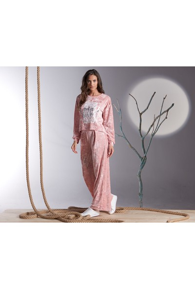 Sevim Kadife Kadın Pantolon TAKIMI-20258-PUDRA