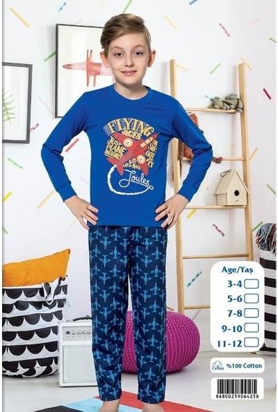 Elit %100 Pamuk Erkek Çocuk Interlok Kalın Kumaş Eşofman Pijama Takımı K4258