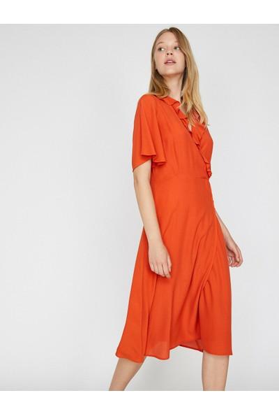 Koton Kadın Fırfır Detaylı Elbise