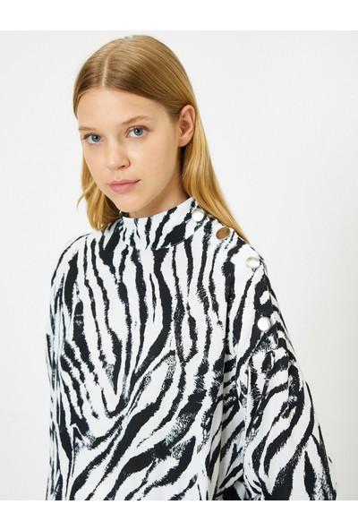 Koton Kadın Zebra Desenli Bluz