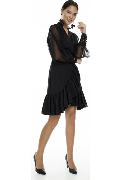 Via Dante Kolları Şifon Detaylı Abiye Elbise Kadın Abiye Elbise 04661325Vd