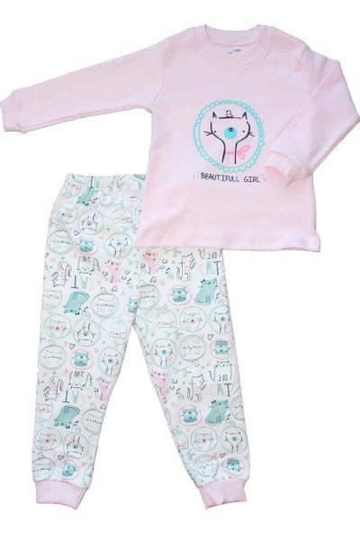 Biricik's Kuşlu Kedili 2li Kız Çocuk Pamuk Pijama Takım-Pembe