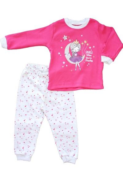 Biricik's Simli Prensesli 2li Kız Çocuk Pamuk Pijama Takım-Fuşya