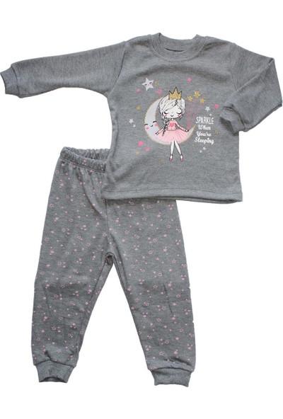 Biricik's Simli Prensesli 2li Kız Çocuk Pamuk Pijama Takım-Gri