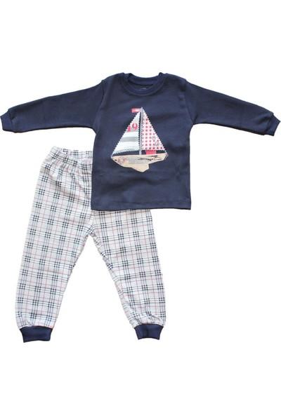 Biricik's Yelkenli Ekoseli 2li Erkek Çocuk Pamuk Pijama Takım-Lacivert