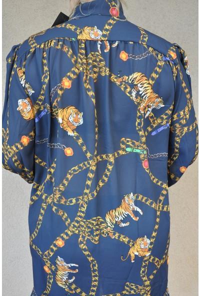 Lefon Lacivert Zincir Desenli Tunik Elbise Gömlek