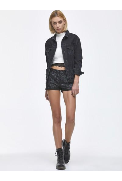 LTB Judie Black Python Wash Kadın Jeans Şort