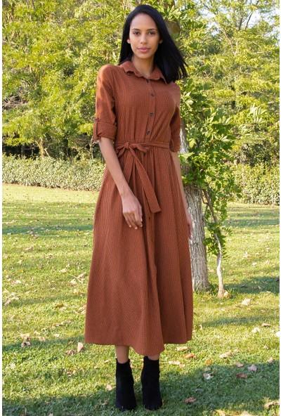 Morpile Kadın Ekose Desen Düğmeli Elbise