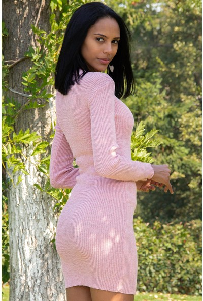 Morpile Kadın V Yaka Triko Elbise