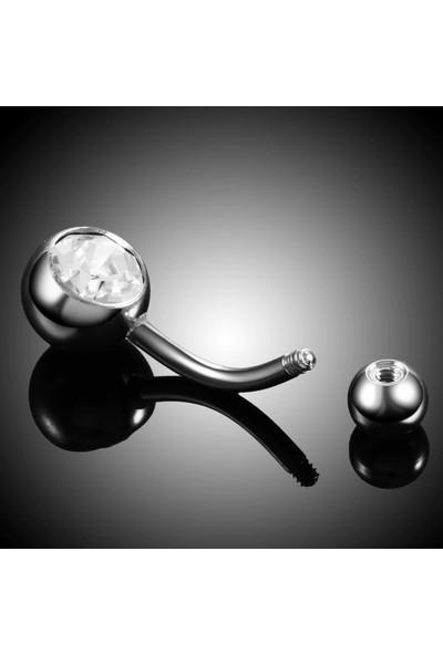 VipBT Cerrahi Çelik Kasisli Top Taşlı Göbek Piercing