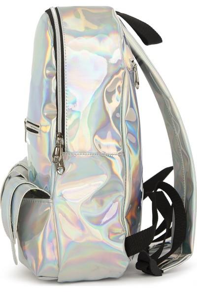Bagmori Gümüş Hologram Çift Cepli Sırt Çantası