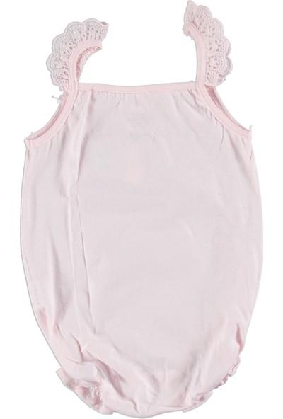 Baby Corner Kız Bebek Kiraz Fırfır Askılı Kısa Tulum