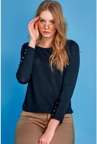 FullaModa Düğme Detaylı Sweatshirt