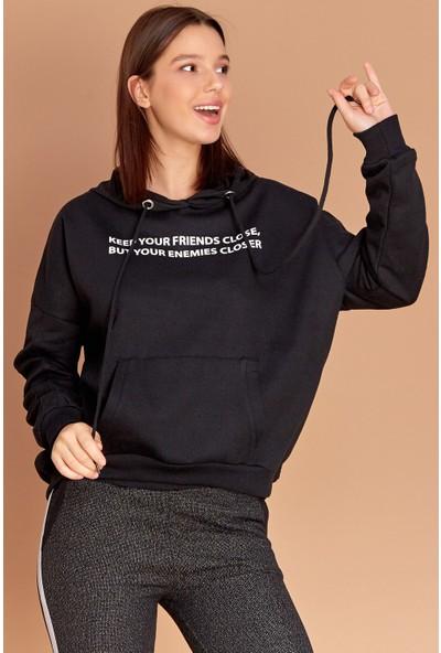 FullaModa Baskılı Kapüşonlu Sweatshirt