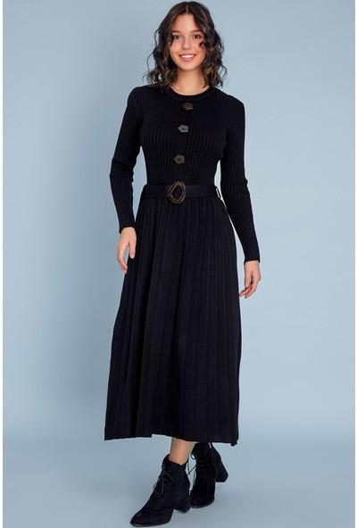FullaModa Piliseli Düğmeli Elbise