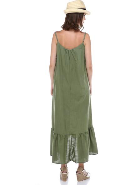 Cream&Rouge Kadın 19-1260 Elbise Uzun Alt Fırfırlı Askılı