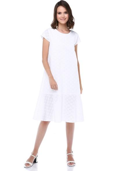 Cream&Rouge Kadın 19-1282 Elbise Midi Boy Alt Fırfırlı