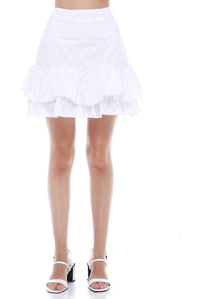 Cream&Rouge Kadın 19-1272 Etek Fırfırlı