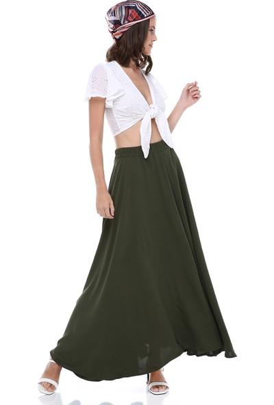 Cream&Rouge Kadın 19-1172 Etek Uzun Beli Lastikli