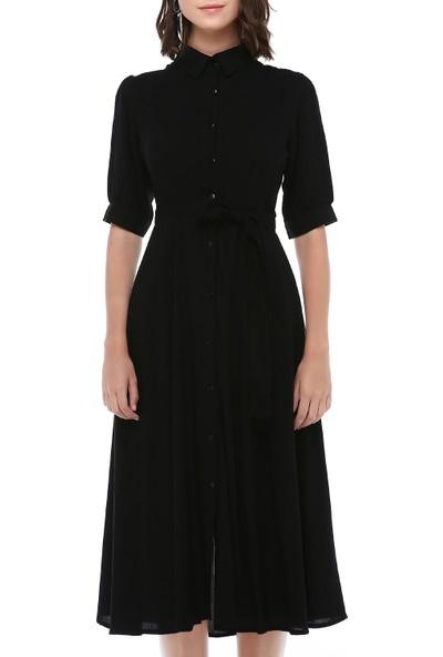 Cream&Rouge Kadın 19-1211 Gömlek Elbise Viskon
