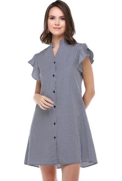 Cream&Rouge Kadın 19-1209 Gömlek Elbise Kol Fırfırlı Ekose