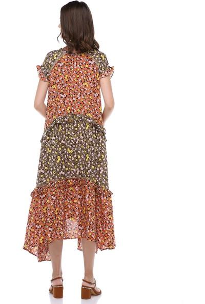 Cream&Rouge Kadın 19-1148 Elbise Uzun İki Renk Güpürlü