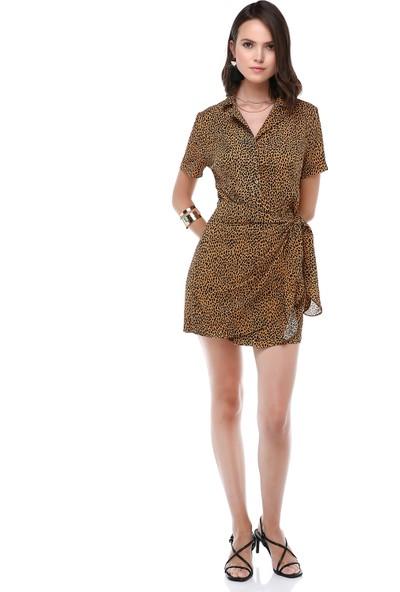 Cream&Rouge Kadın 19-1138 Elbise Kısa Kol Parçalı Desenli