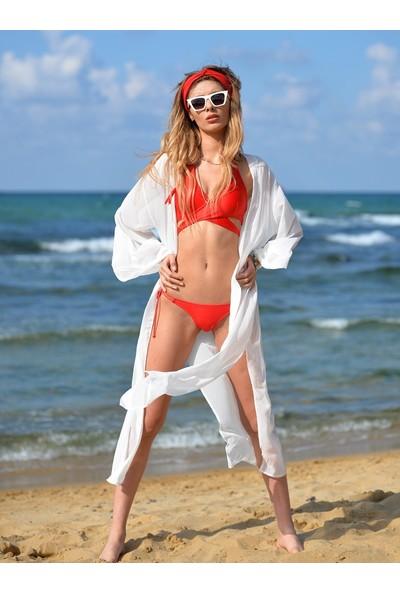 Pembe Deniz Beyaz Yırtmaçlı Şifon Kadın Kaftan