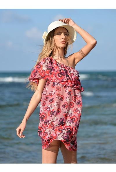 Pembe Deniz Omuzdan Lastikli Çiçekli Kadın Pareo