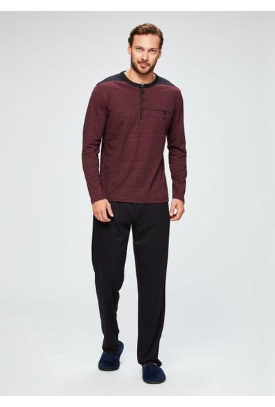DAGİ Erkek Modal Kırçıllı O Patlı Uzun Kol Pijama Takımı Kırmızı-Siyah