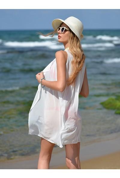 Pembe Deniz Beyaz Yelek Pareo
